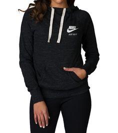 d8d07e304 NIKE WOMENS NSW GYM VINTAGE PULLOVER HOODIE Black Nike Long Sleeve, Black  Hoodie, Nike