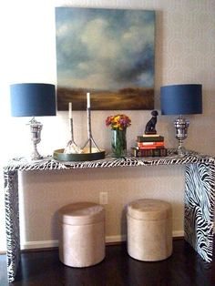 Console Table - covered in zebra contact paper