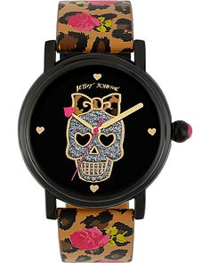 FLORAL LEOPARD SKULL WATCH MULTI accessories jewelry watches fashion
