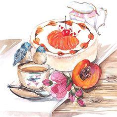 #watercolor#aquarelle#Misha_illustration#illustration#art#food#cake#foodie_art#bird#tea#акварель#drawing#painting#flowers#paintingfood#arts_instarts#work#art#instaartist
