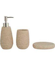 Heart Of House 3 Piece Sandstone Bathroom Accessories Set