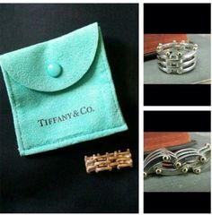 Tiffany And Co Gate Link Ring (silver and Gold) - $140