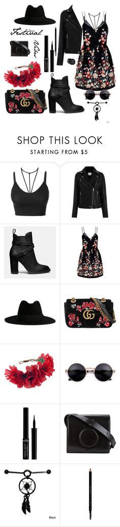 """""""Festival vibes"""" by melissa999 ❤ liked on Polyvore featuring LE3NO, Coach, The 2nd Skin Co., Yves Saint Laurent, Gucci, Rock 'N Rose, Giorgio Armani, Lemaire and NYX"""