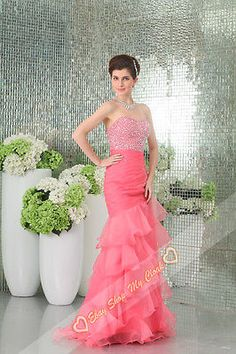 fabulous mermaid gown beading prom dress evening party ball size 6 8 10 12  14 16 9c008e777ee5