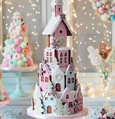 Had to share this charming pastel gingerbread village tiered cake. What fun it would be as a unique Winter wedding cake ~ Peggy Porschen Cakes Pink Christmas, Christmas Goodies, Christmas Treats, Beautiful Christmas, All Things Christmas, Christmas Time, Christmas Decorations, Christmas Hamper, Christmas Cakes