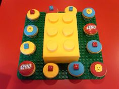 Lego Cake & Cupcakes- red big lego then cupcakes blue red yellow Lego Cupcakes, Lego Cake, Boy Birthday Parties, Birthday Fun, Birthday Ideas, Cupcake Birthday Cake, Cupcake Cakes, Lego City Birthday, Bolo Lego