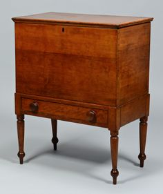 "Middle Tennessee Sugar Chest. Cherry with Poplar Secondary Wood. Descended in the Moore Family of Mooreland Plantation, Brentwood, Williamson County, Tennessee. Circa 1825-1830. 35-3/4"" x 28-1/8"" x 16-5/8""."