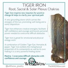 Crystal Healing with Tiger Iron Chakra Crystals, Crystals Minerals, Gems And Minerals, Crystals And Gemstones, Stones And Crystals, Gemstone Properties, Crystal Healing Stones, Crystal Meanings, Crystal Grid