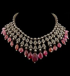 An Antique Silver, Gold, Spinel, Pearl and Diamond Necklace, Circa 1890. #antique #necklace