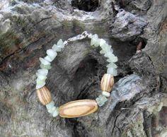 Hand made Olive Wood and lemon jade gemstone bracelet