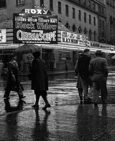 "ROXY THEATRE - Times Square - New York City - 1954 - showing ""Black Widow"" - Photo by Frank Oscar Larson """