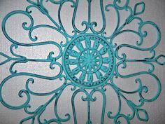 Metal Wall Decor, Aqua Painted Wall Art, Patio Decor, Wrought Iron. $31.50, via Etsy.