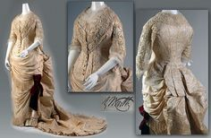 Worth Dress, Yellow silk brocade, 1883