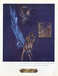 Boucheron (Jewels) 1955 Bracelet, Earings, Ring, Cigarette Box, Demachy.  Illustrator  : Jacques Demachy. Hprints
