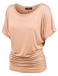 MBJ Womens Dolman Drape Top with Side Shirring PEACH Made By Johnny