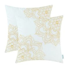 CaliTime Cotton Throw Pillow Covers Vintage Dahlia Floral Embroidered 18 X 18 Inches Gold Pack of 2 ** To view further for this item, visit the image link. Rabbit Habitat, Throw Pillow Covers, Throw Pillows, Christmas Pillow Covers, Dining Room Bar, Cotton Pillow, Dahlia, Pillow Inserts, Decorative Pillows