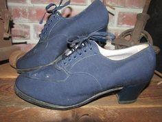 f9edfe4ee7 Vintage Women's Orthopedic Shoe Shop Navy Blue Cloth by ShopOlga  #ladiesshoesshopping Old Lady Shoes,