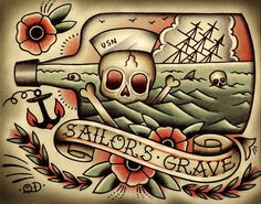 Death by Sea Tattoo Print por ParlorTattooPrints en Etsy Cool Back Tattoos, Back Tattoos For Guys, Weird Tattoos, Trendy Tattoos, Craziest Tattoos, Dibujos Tattoo, Desenho Tattoo, Sea Tattoo, Samoan Tattoo