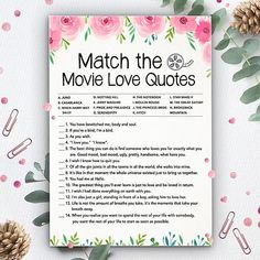 Match the Movie Love Quotes Bridal Shower Games Instant