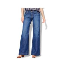 Soho Wide-Leg Jeans Revolve Blue Wash featuring polyvore, women's fashion, clothing, jeans, blue, new york company jeans, slim jeans, relaxed fit jeans, wetlook jeans and wide leg jeans