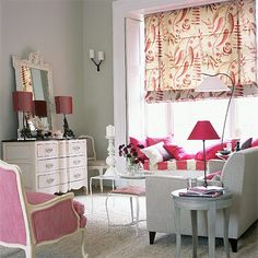 Colouring, window seat with gorgeous window architraves, hints of French flair... what's not to love about this room?