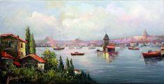 RESSAM UFUK GÜNAYDIN Turkish Art, Love Painting, Istanbul, Places To Visit, Landscape, Studio, Illustration, Paintings, Scenery