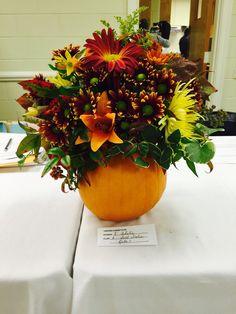 Garden Club Journal.  Fall Frolic 1 floral design in a pumpkin.   Flower arrangement.  gardenclubjournal.blogspot.com