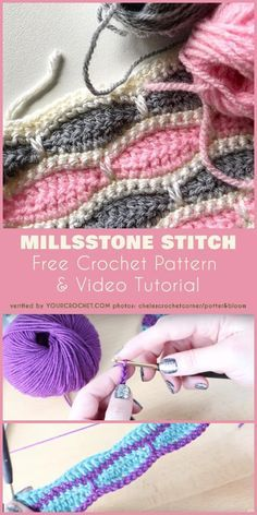 Crochet projects Amazing stitch for baby blanket. Free Crochet Pattern and Video Tutorial for Millsstone Stitch. Ideal for any blanket, afghan or beds. Stitch Crochet, Diy Crochet, Crochet Crafts, Crochet Projects, Crochet Ideas, Crochet Stitch Tutorial, Knitting Projects, Crochet Top, Scarf Tutorial