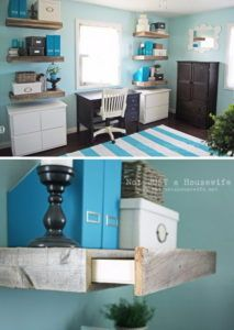 7 Reclaimed Wood Shelves with Hidden Drawers