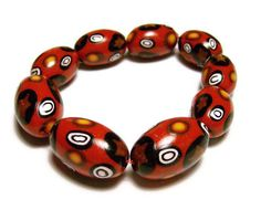Handmade Beads Red Polymer Clay Set of 9 by SweetchildJewelry