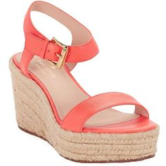 Kate Spade New York Women's Tarin Espadrille Sandals ($80) ❤ liked on Polyvore featuring shoes, sandals, coral, platform shoes, platform wedge sandals, wedge sandals, wedge heel sandals and blue sandals