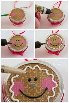 Turn a canning jar lid into a sweet gingerbread man with this canning lid ornament project! Gingerbread Decorations, Gingerbread Ornaments, Christmas Ornament Crafts, Christmas Gingerbread, Holiday Crafts, Christmas Crafts, Christmas Ideas, Felt Christmas, Christmas Stuff