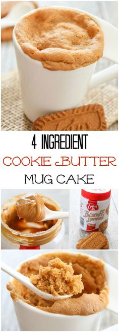 4 Ingredient Cookie Butter Mug Cake. This single serving microwave cake is ready in 5 minutes! 4 Ingredient Cookie Butter Mug Cake. This single serving microwave cake is ready in 5 minutes! Brownie Desserts, Just Desserts, Delicious Desserts, Yummy Food, Single Serving Desserts, 5 Minute Desserts, Tasty, Mug Recipes, Sweet Recipes