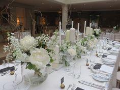 Wedding Table Flowers By Fredas Florist Wedding Table Flowers, Floral Wedding, Flower Arrangements, Florals, Table Settings, Wedding Ideas, Table Decorations, Inspiration, Home Decor