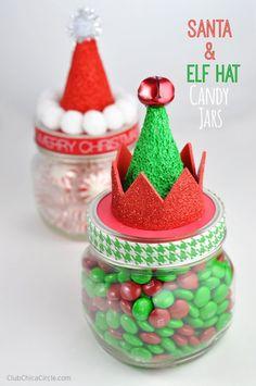 Santa and Elf Hat Candy Jars Homemade Holiday Gift Idea #MakeItFunCrafts