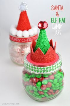 Santa and Elf Hat Candy Jars Homemade Holiday Gift Idea