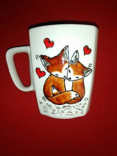 Handpainted mug. Foxes in love. Perfect Christmas gift for couples in love.