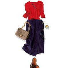 寒色ばかり身につけがちな夏。だからこそ、パンチカラーを効かせてコーデに変化を。リブニットトップス&タイトスカートのコーディネートなら、トップスを赤にするだけで印象チェンジが可能。チアフルな赤が元気なムードと血色をプラスし、素敵な通勤スタイルになります。ニットがカラフルなぶん、足元・・・