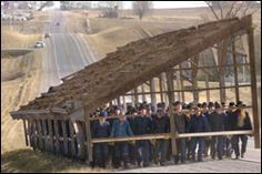 Amish Move Barn By Hand - Community members, farmers and those just passing through along Highway 22 did a double take Friday as approximately 150 Amish men carried the wooden skeleton of a turkey barn along the shoulder of the roadway.
