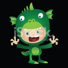 Halloween Costume Monster Kid royalty-free stock vector art