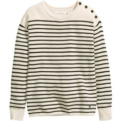 H&M Fine-knit jumper (530 RUB) ❤ liked on Polyvore featuring tops, sweaters, long sleeves, h&m, natural white, white striped sweater, one shoulder long sleeve top, white sweater, one shoulder tops and striped sweater