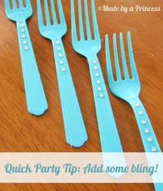 How to bling your forks, spoons, plasticware {Made by a Princess}
