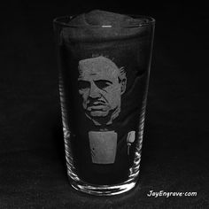 Marlon Brando as Don Vito Corleone in the classic hit movie The Godfather. Hand engraved on a pint glass using a dremel and micromotor. Like all my engravings, each Glass Engraving, Hand Engraving, Hits Movie, Game Of Thrones Fans, The Godfather, Pint Glass, Initials, Birthday Gifts, How To Make