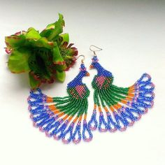Peacock Seed Bead Earrings-Dangle Earrings Beadwork от Galiga