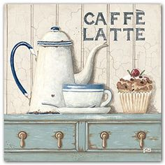 Caffe Latte~Caffee Mocha by Gordon~Set 2 French Country Coffee 8 x 8 UNFRAMED Art Prints