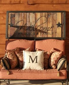 Welcome sign with wood pallet slats