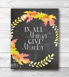 Thanksgiving printable wall art print decor poster ...