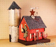 Chicken House and Silo.  Use Sizzix Bigz XL Country Cottage die.