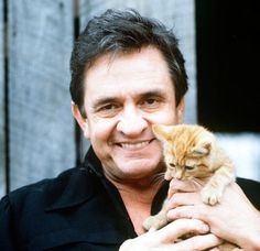 Johnny Cash with a kitten.