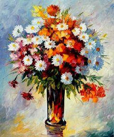 Cuadros Modernos Pinturas : Cuadros de Flores Pintados con Espátula (19 Elementos)